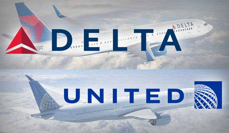 US airlines Delta and United